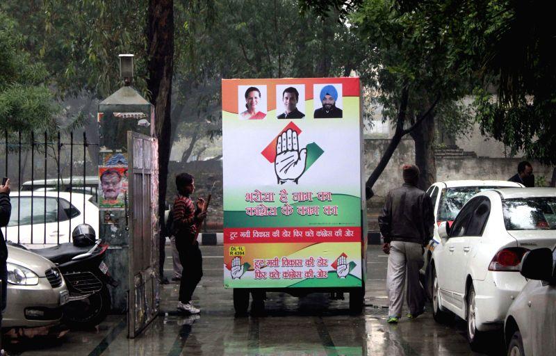 A Congress campaign van ahead of Delhi assembly Polls in New Delhi, on Jan 22, 2015.