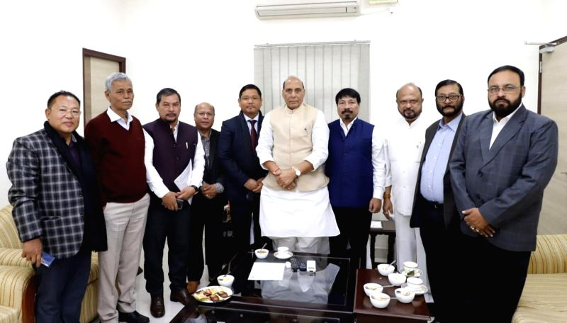New Delhi: A delegation led by Meghalaya Chief Minister and National People's Party (NPP) President Conrad Sangma, Asom Gana Parishad (AGP) President Atul Bora and party leader Prafulla Kumar Mahanta meet Union Home Minister Rajnath Singh over Citize