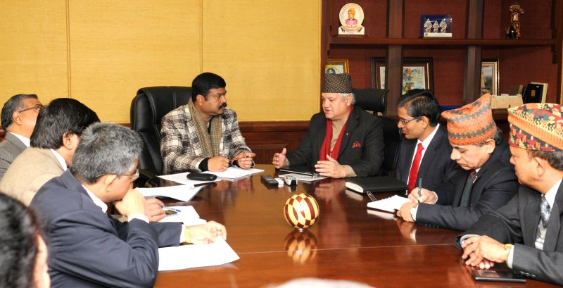 A delegation led by Nepalese Commerce Minister Sunil Bahadur Thapa calls on the Union Minister of State for Petroleum and Natural Gas (Independent Charge), Dharmendra Pradhan, in New Delhi - Sunil Bahadur Thapa