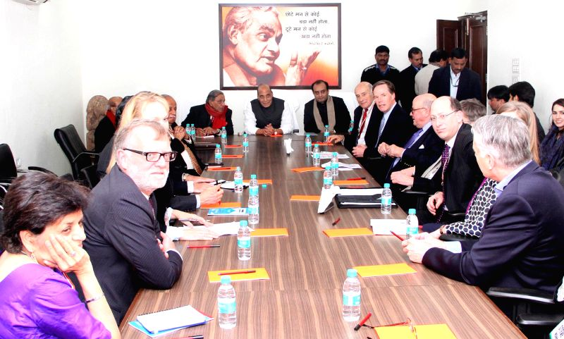 A delegation of the India-US Strategic Dialogue calls on the Union Home Minister Rajnath Singh, in New Delhi on Jan 10, 2015.