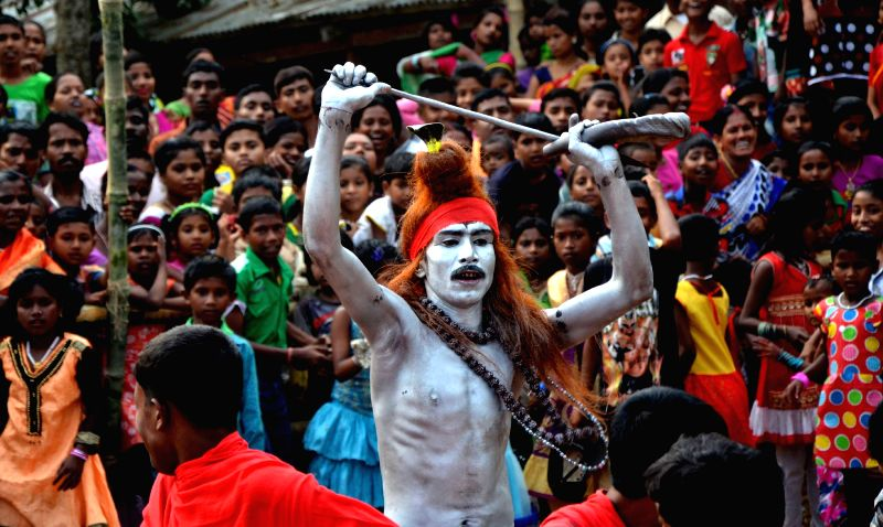 A devotee participates in Charak festival celebrations in Agartala, on April 14, 2015. The festival is devoted to the deities Shiva and Sakti.