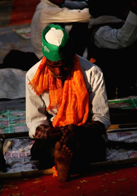 A farmer at the site of demonstration against land acquisition bill in New Delhi, on March 20, 2015.
