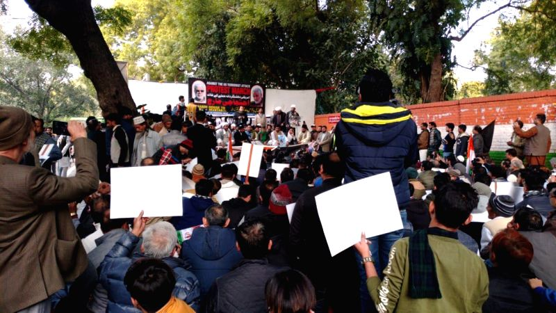 New Delhi: A group of people protest over the killing of top Iranian General Qassem Soleimani in a US airstrike in Baghdad, at Jantar Mantar in New Delhi on Jan 12, 2020. (Photo: IANS)