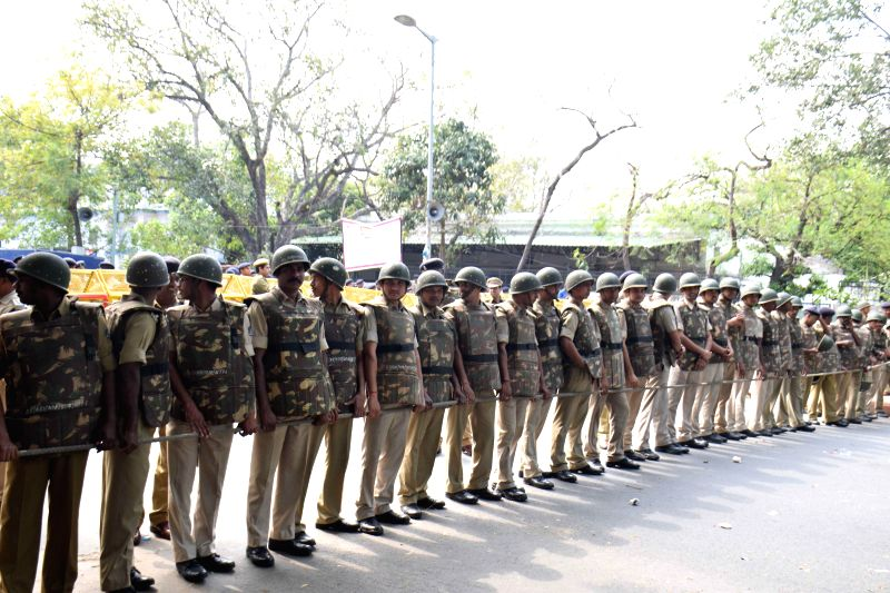 A heavy contingent of policemen deployed at Jantar Mantar where Congress workers stage a demonstration against the land acquisition bill in New Delhi, on March 16, 2015.
