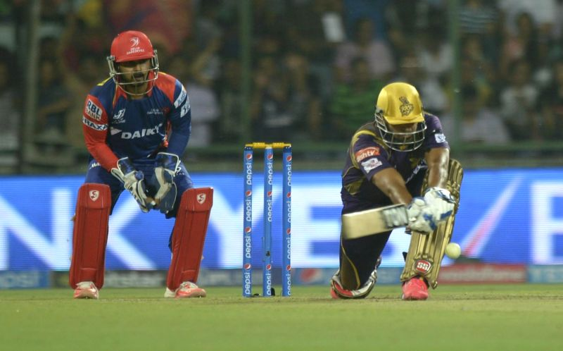 A Kolkata Knight Riders batsman in action during an IPL-2015 match between Delhi Daredevils and Kolkata Knight Riders at Feroz Shah Kotla stadium, in New Delhi, on April 20, 2015. - Feroz Shah Kotla