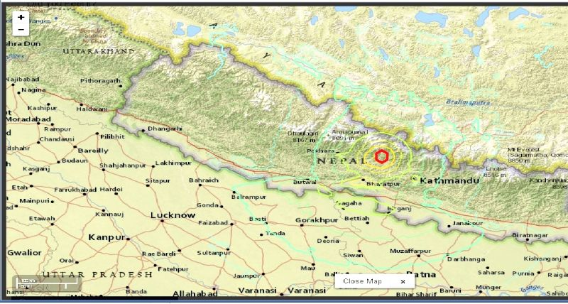 A map shows the epicenter of the 7.5 magnitude earthquake that hit Nepal, on April 25, 2015. The epicenter of the quake was in Lamjung, 105 km north-west of Kathmandu (Photo Courtesy: USGS)