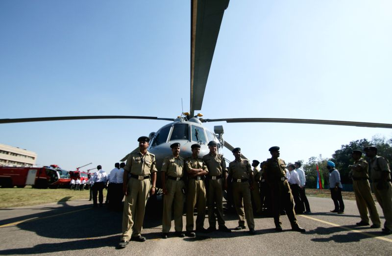 "A Mi-€""17 V5 Helicopter during its Induction Ceremony into the BSF at Safdarjung Airport in New Delhi, on April 9, 2015."