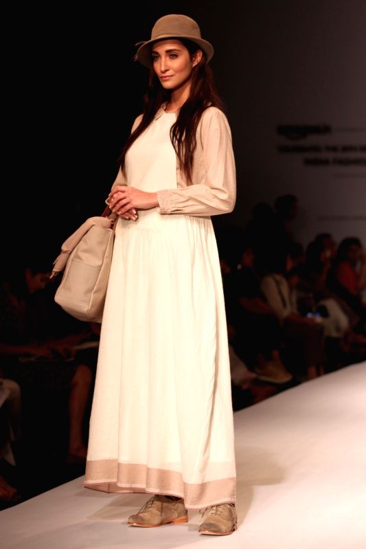 A model showcases EKA`s creations during Amazon India Fashion Week in New Delhi, on March 27, 2015.