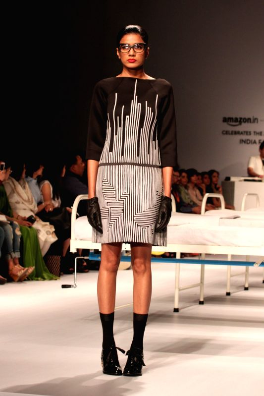 A model showcases fashion designer Rajesh Pratap Singh's creations during Amazon India Fashion Week in New Delhi, on March 25, 2015.