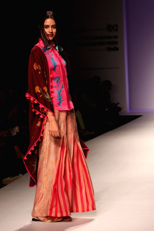 A model showcases fashion designer Anupama Dayal`s creations during Amazon India Fashion Week in New Delhi, on March 27, 2015.