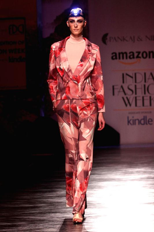 A model showcases fashion designer Pankaj and Nidhi creations during Amazon India Fashion Week in New Delhi, on March 27, 2015.