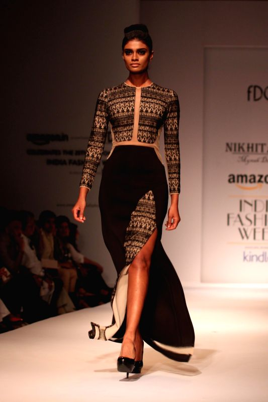 A model showcases fashion designer Nikhita Tandon`s creations during Amazon India Fashion Week in New Delhi, on March 28, 2015.