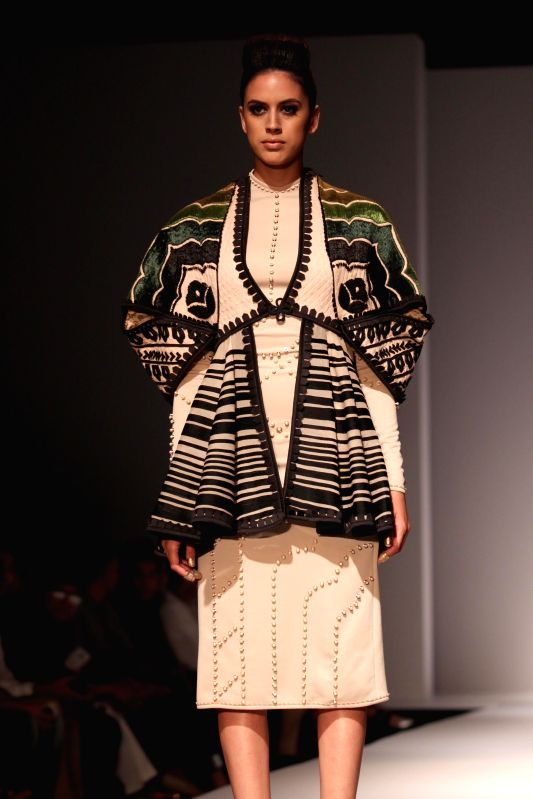 A model showcases fashion designer Sahil Kochhar`s creations during Amazon India Fashion Week in New Delhi, on March 28, 2015.