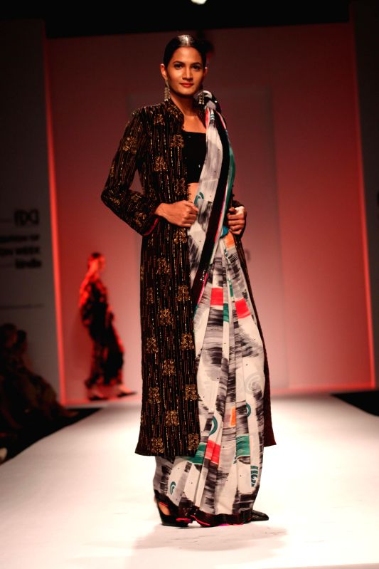 A model showcases fashion designer Sonam Dubal`s creations during Amazon India Fashion Week in New Delhi, on March 28, 2015.