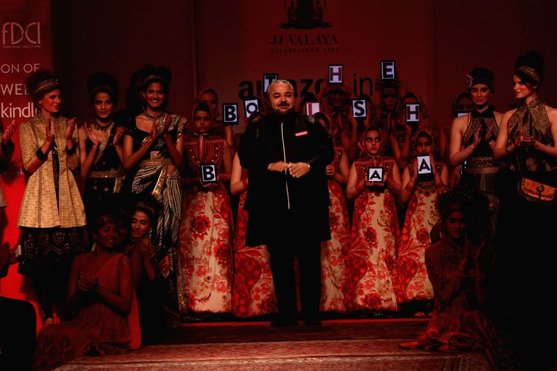 A model showcases fashion Designer J J Valaya, Amazon India Fashion Week in New Delhi, on March 25, 2015.