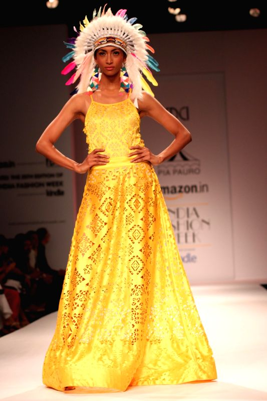 A model showcases fashion designer Pia Pauro`s creations during Amazon India Fashion Week in New Delhi, on March 28, 2015.