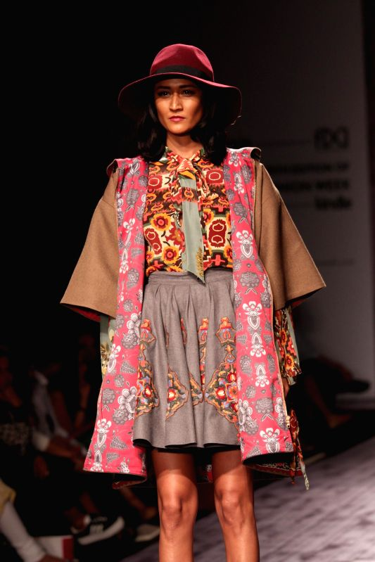 A model showcases fashion designers Hemant and Nandita's creations during Amazon India Fashion Week in New Delhi, on March 26, 2015.