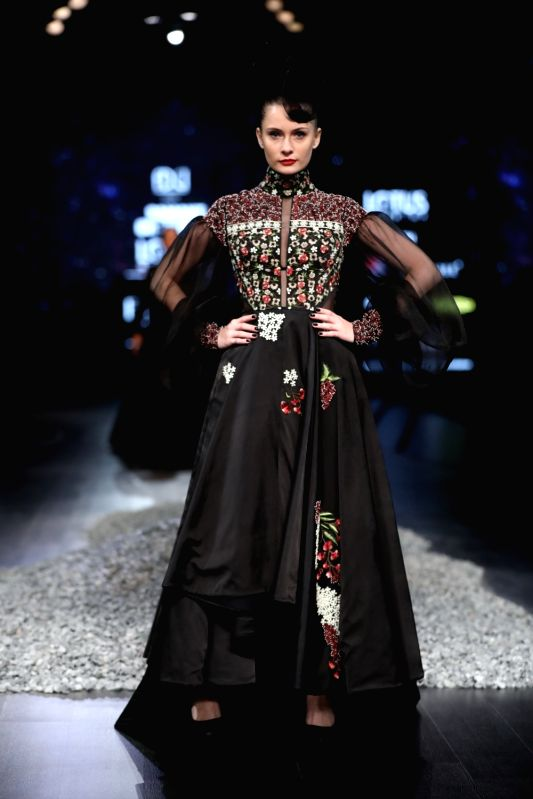 New Delhi: A model showcases the creations of fashion designer Samant Chauhan on the first day of Lotus Make-up India Fashion Week, in New Delhi on Oct 9, 2019. (Photo: IANS)