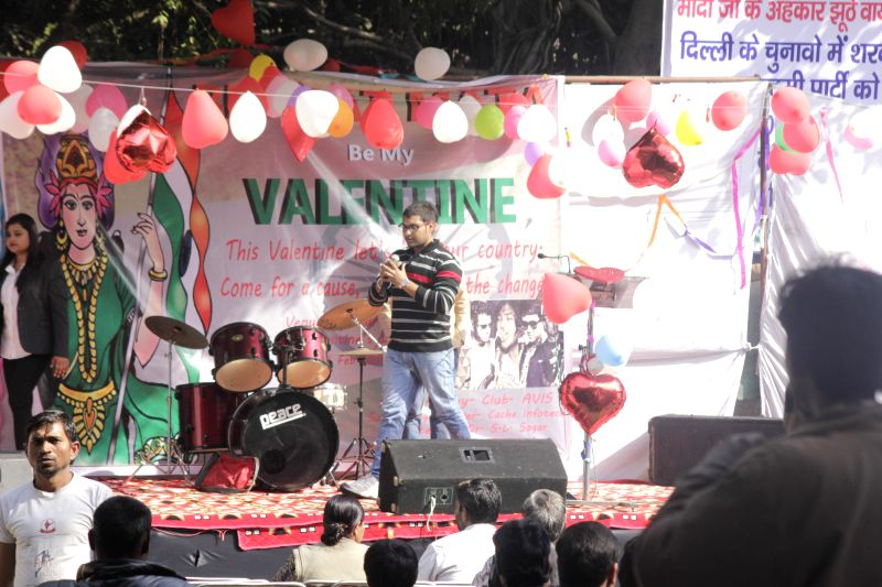A musical event organised to celebrate Valentine's Day at Jantar Mantar in New Delhi, on Feb 14, 2015.