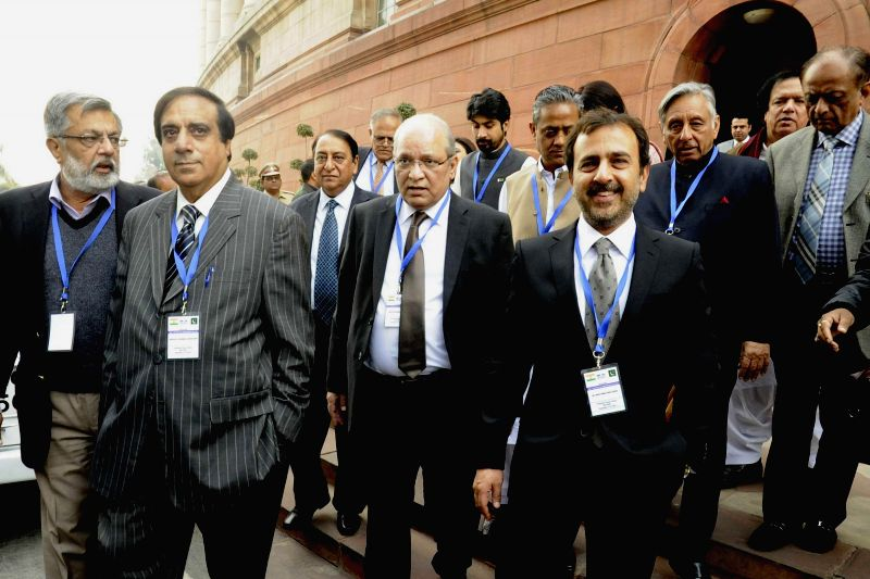 A Pakistani parliamentary delegation comprising of 12 members during their visit to the Parliament premises in New Delhi on Dec 12, 2014. The visit was organised by the Pakistan Institute .