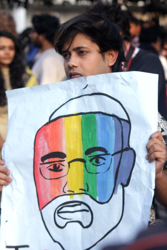 A person participates in Delhi Queer Pride Parade on Nov 30, 2014.
