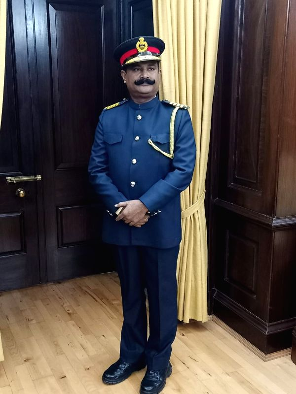 New Delhi:  A Rajya Sabha marshal in the new uniform on the first day of the Winter Session of Parliament, in New Delhi on Nov 18, 2019. The new uniform resembles military and civil uniforms. Now the new look has some military essence with a cap. (Ph