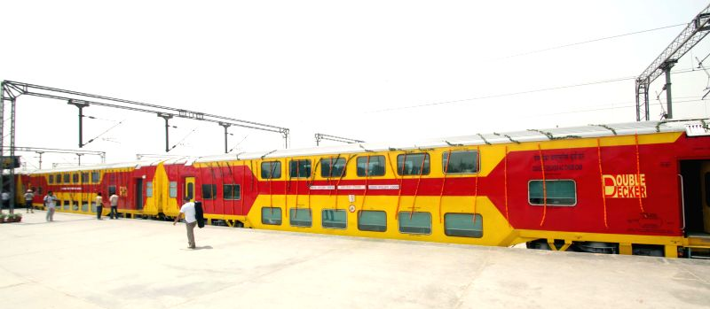 A rake of Lucknow-Anand Vihar Double Decker Express stationed at Anand Vihar Terminal railway station in New Delhi, on April 26, 2015.