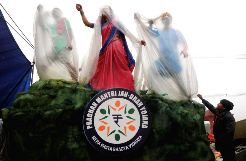 A Republic Day tableau during a media preview in New Delhi, on Jan 22, 2015.