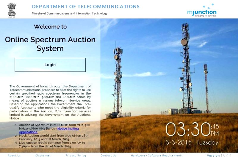 A screen shot of the Online Spectrum Auction System on the website of the Department Of Telecommunications. E-auction of radio frequency spectrum for telecom operators commenced at 3.30 pm ...
