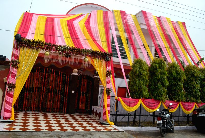 A view of decorated house of Indian cricketer Suresh Raina in Ghaziabad on April 3, 2015. Raina will marry Priyanka Chowdhary at a five star hotel in Delhi late on Friday.