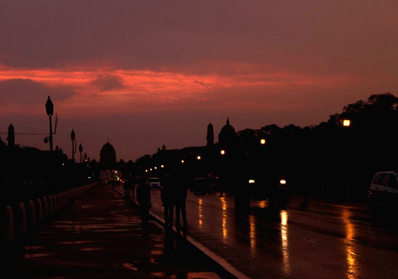 A view of Rajpath after rains in New Delhi, on March 2, 2015.