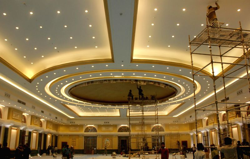 A view of the grand ceremonial hall - an extended part of the integrated Rashtrapati Bhavan cultural centre, that will be inaugurated by President Pranab Mukherjee on his birthday in New .. - Pranab Mukherjee