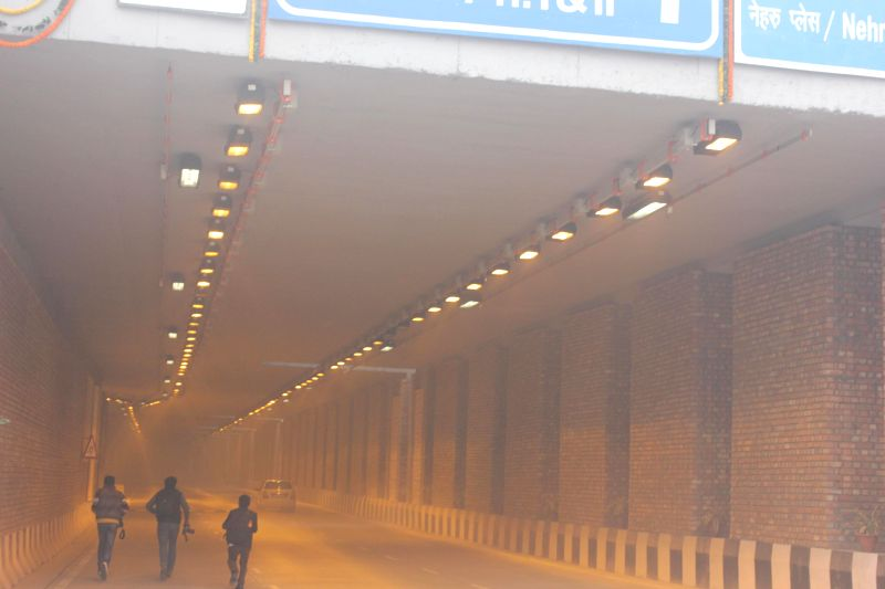 A view of the newly inaugurated underpass that connects Okhla with Sarita Vihar in New Delhi on Dec 19, 2014.