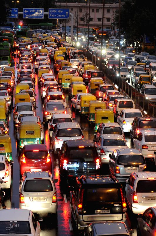 A view of traffic jam near ITO as a result of heavy rains in New Delhi, on March 2, 2015.