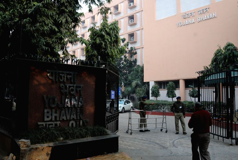A view of Yojana Bhawan, which will henceforth be known as NITI Aayog (National Institution for Transforming India) at the Parliament Street in New Delhi on Jan 1, 2015.
