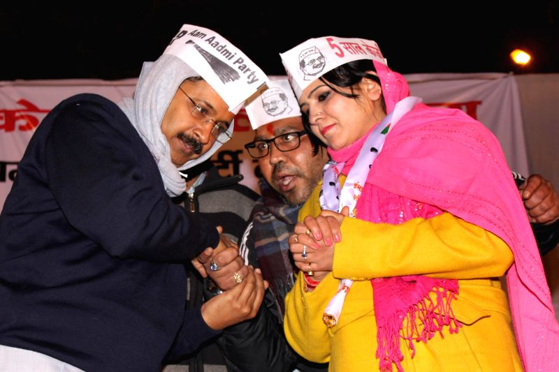 Aam Aadmi Party (AAP) Arvind Kejriwal during a public meeting at Nanakpura in New Delhi, on Jan 21, 2015. ​ - Arvind Kejriwal