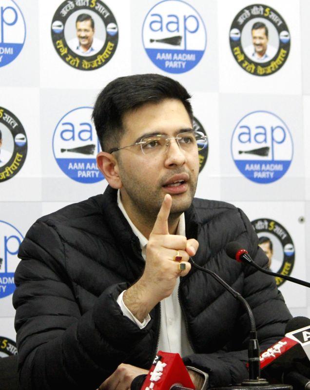 New Delhi: Aam Aadmi Party (AAP) leader and Delhi Jal Board (DJB) Vice Chairman Raghav Chadha addresses a press conference, in New Delhi on Dec 24, 2020. (Photo: Qamar Sibtain/IANS)