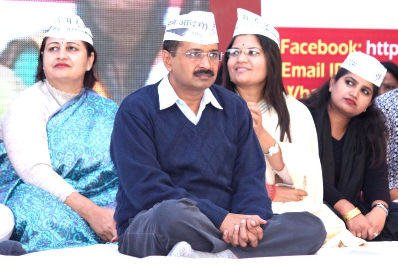 Aam Aadmi Party (AAP) leader Arvind Kejriwal during party`s women wing programme in New Delhi on Nov 26, 2014.