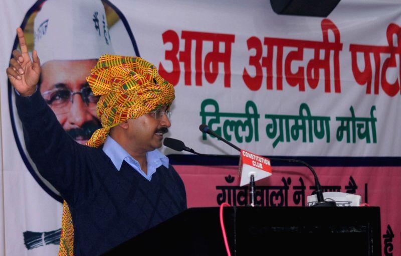 Aam Aadmi Party (AAP) leader Arvind Kejriwal addresses during a seminar on AAP Delhi Gramine Morcaha at Constitution Hall, in New Delhi on Nov 29, 2014. - Arvind Kejriwal