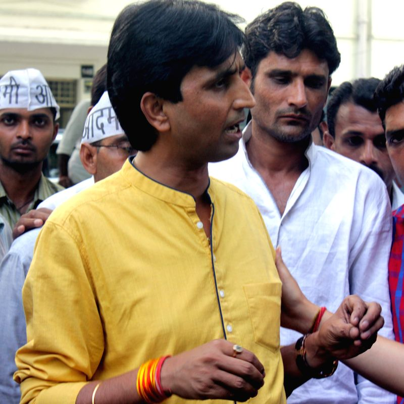 Aam Aadmi Party (AAP) leader Kumar Vishwas during a press conference regarding farmer's suicide at an AAP rally in New Delhi on April 22, 2015.