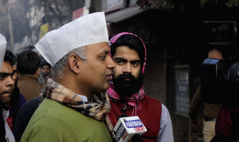 Aam Aadmi Party (AAP) leader Somnath Bharti talks to press at Malviya Nagar assembly constituency during Delhi Assembly Polls in New Delhi, on Feb 7, 2015.