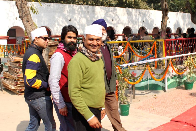 Aam Aadmi Party (AAP) leader Somnath Bharti arrives at a polling booth in Green Park, New Delhi, on Feb 7, 2015.