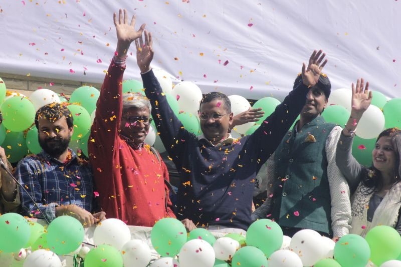 Aam Aadmi Party (AAP) leaders Arvind Kejriwal, Ashutosh, Ashish Khetan and Kumar Vishwas celebrate party`s performance in the recently concluded Delhi Assembly Polls at Patel Nagar in New . - Arvind Kejriwal