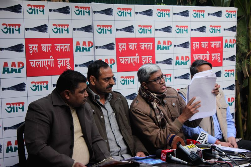 Aam Aadmi Party (AAP) leaders including Ashutosh address a press conference in New Delhi, on Jan 7, 2015.