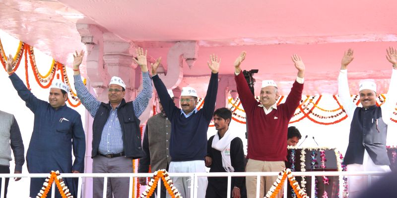 Aam Aadmi Party (AAP) leaders Sandeep Kumar, Satyendra Jain, Gopal Rai, Arvind Kejriwal, Manish Sisodia and Jitendra Singh Tomar during the swearing-in ceremony of Delhi Chief Minister ... - Arvind Kejriwal, Sandeep Kumar, Satyendra Jain, Gopal Rai and Jitendra Singh Tomar