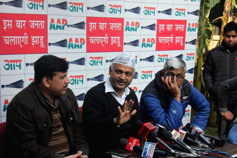 Aam Aadmi Party (AAP) leaders Yogendra Yadav, Ashish Khaitan and Ashutosh during a press conference in New Delhi, on Dec 26, 2014. - Yogendra Yadav