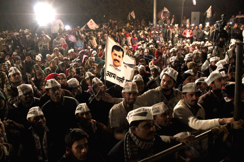 Aam Aadmi Party (AAP) supporters during a public meeting at Nanakpura in New Delhi, on Jan 21, 2015. ​
