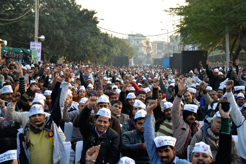 Aam Aadmi Party (AAP) workers at the `Delhi's Village Dialogue` held at Chhatarpur, in New Delhi on Jan,04,2015.