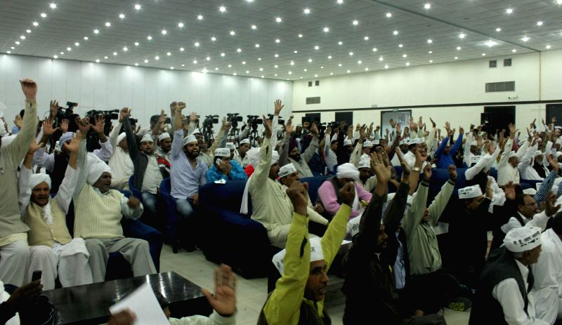 Aam Aadmi Party (AAP) workers during a seminar on AAP Delhi Gramine Morcaha at Constitution Hall, in New Delhi on Nov 29, 2014.