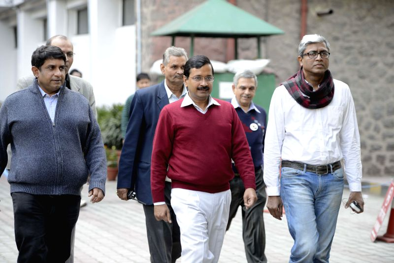 AAP chief Arvind Kejriwal and other leaders at Election Commission in New Delhi on Jan. 31, 2015.
